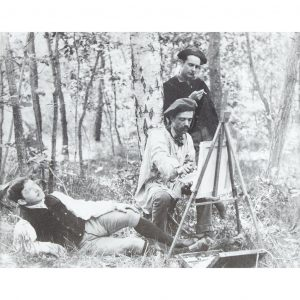 Theodore Robinson (easel), Kenyon Cox (standing) and James Carroll Beckwith en Plein-Air Black and white photographic print