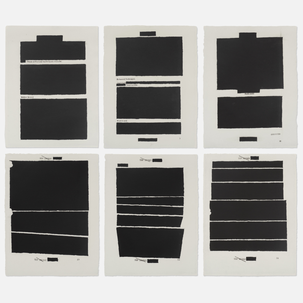 Top Secret (six works) by Jenny Holzer. Photo by Rago Arts and Auction.