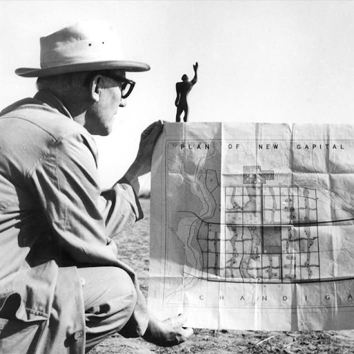 Pierre Jeanneret with plans for the city of Chandigarh, India. Image from GIR.