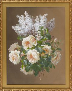 RAOUL MAUCHERAT DE LONGPRE, France, 1843-1922, Still life of lilacs and roses., Gouache on paper