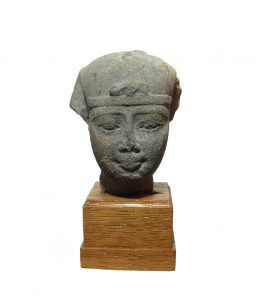 Egyptian grey stone head of a Pharaoh, Late Period-Ptolemaic