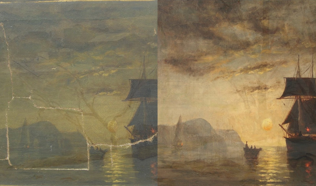 Extensive painting conservation. Photo by Gratz Gallery & Conservation Studio.