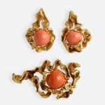 Suite of Modernist coral and gold jewelry