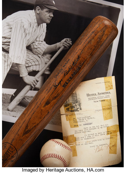 "1921 Babe Ruth 52nd Home Run (Career #155) Game Used ""Hotel Ansonia"" Bat"