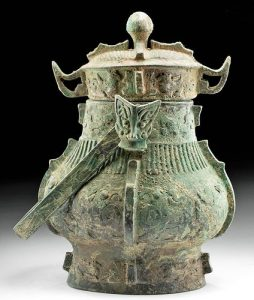 Chinese Shang Dynasty Bronze Lidded Vessel (You)