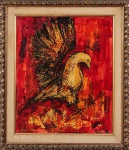 Pierre Mas Modern Bird Oil on Board