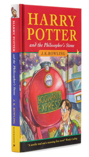 """Harry Potter and the Philosopher's Stone by J. K. Rowling: This signed, first edition, first printing hardback issue of the first Harry Potter book realized $153,600 at Hindman's November 5, 2019 """"Library of a Midwestern Collector"""" sale. Photo from LiveAuctioneers."""
