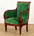 19TH DIRECTOIRE STYLE BERGERE ARM CHAIR MAHOGANY