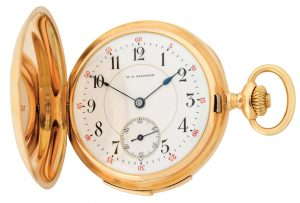 18K GOLD M.T. STAUFFER, LES PONDS, MINUTE REPEATING H-C POCKET WATCH