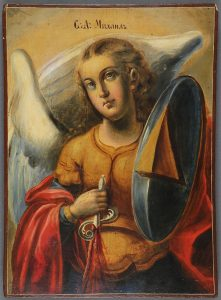 RUSSIAN ICON THE ARCHANGEL MICHAEL, 19TH C