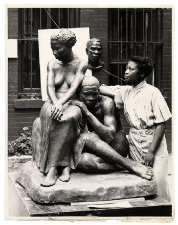 Augusta Savage with her sculpture titled Realization in 1938. Image from the Archives of American Art, Smithsonian Institution.