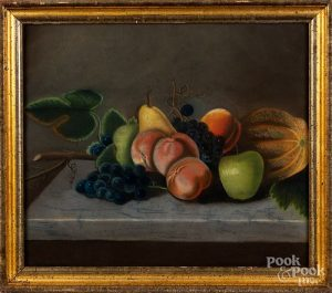 Pastel still life with fruit