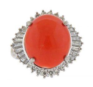Platinum 13.44ct Coral Diamond Cocktail Ring