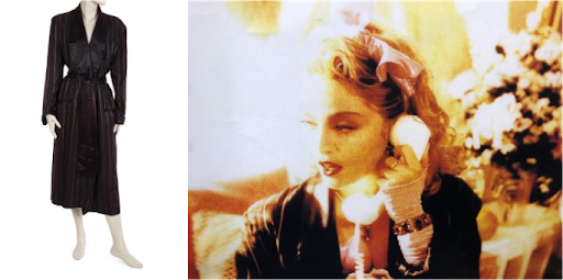 """Madonna's """"Material Girl"""" worn bathrobe; still from """"Material Girl"""" music video. Images from Julien's Auctions."""