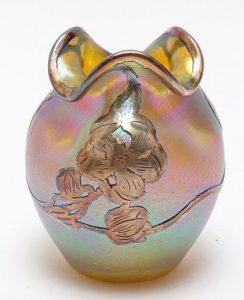 Loetz Iridescent Art Glass Jar with Silver Overlay