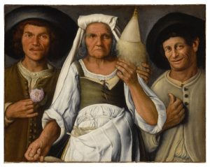 ATTRIBUTED TO VINCENZO CAMPI - AN OLD PEASANT WOMAN WITH A DISTAFF AND SPINDLE FLANKED BY TWO MALE PEASANTS
