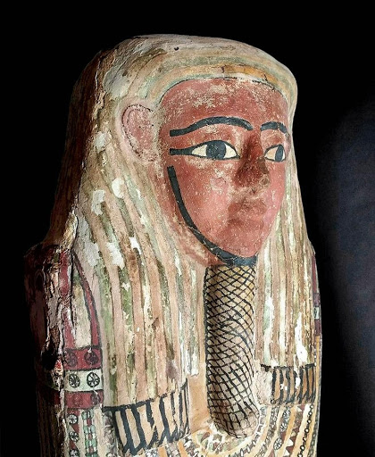 Egyptian polychrome gesso coffin lid. Photo by Artemis Gallery.