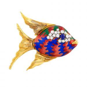 Gold, Enamel and Diamond Fish Clip-Brooch