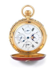 A FINE GEM-SET AND ENAMELLED GOLD MINUTE REPEATER POCKET WATCH MADE FOR AND BEARING THE INITIALS OF AWN AL-RAFIQ, SHARIF OF MECCA, BY CONSTANT PIGUET