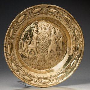 German Brass Alms Dish, Late 17th Century.