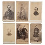 Miscellaneous Officers, Enlisted Men, and Civilians, Lot of 24 CDVs, Incl. St. Louis Image Featuring Two Officers Posed Together