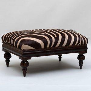 Zebra Upholstered and Mahogany Ottoman