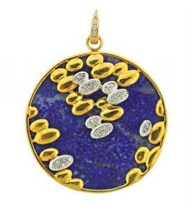 18K Gold Diamond Large Lapis Pendant