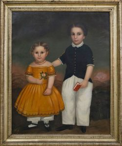 American School Oil on Canvas Portrait of Brother and Sister in a Landscape
