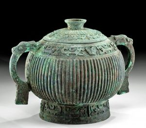 Chinese Shang Dynasty Bronze Lidded Gui w- TL