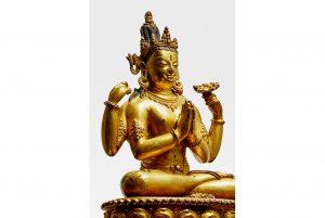 Exquisite gilt copper alloy figure of Shadakshari Lokeshvara achieves top lot at Bonhams sales