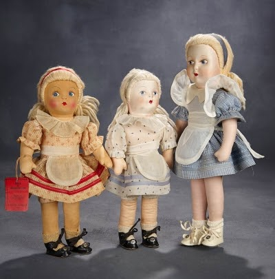Alice in Wonderland cloth dolls. Photo courtesy of Theriault's Antique Doll Auctions.