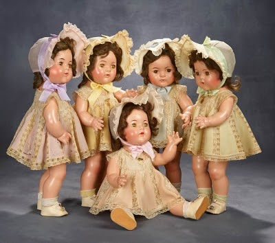 The Dionne quintuplets dolls. Photo courtesy of Theriault's Antique Doll Auctions.