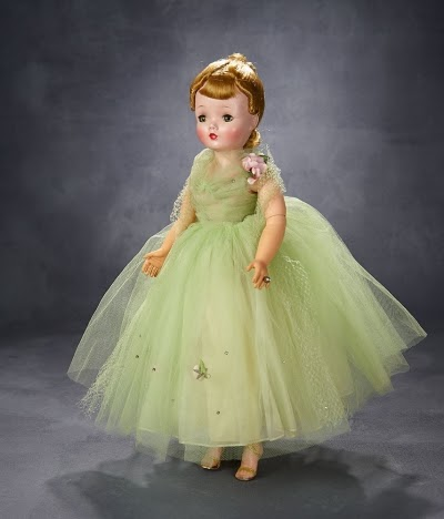 Hard plastic Cissy in green gown from 1958. Photo courtesy of Theriault's Antique Doll Auctions.