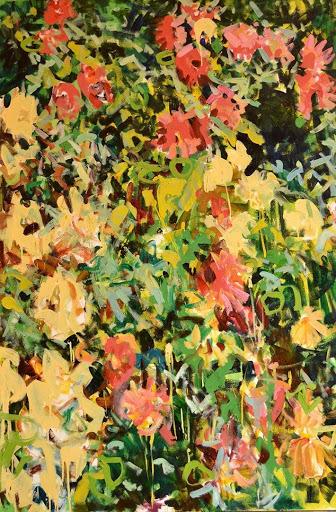 Lot 307, Pat Mahony, Dahlias, 2020. Oil on canvas, 60 x 40 in.