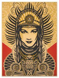 Shepard Fairey (B. 1970) Peace Goddess on Wood