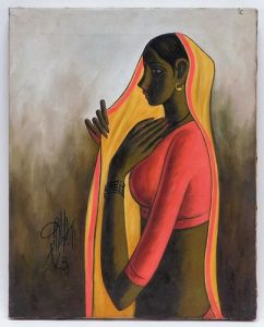 B. Prabha O/C Portrait Painting of a Young Woman