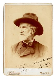 G. Verdi. Large cabinet-style photograph signed and inscribed, February 1895