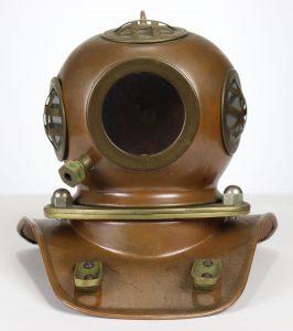 Small Copper & Brass Diving Helmet Display