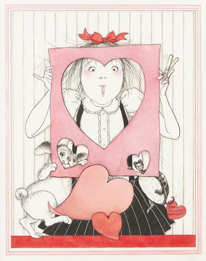 Hilary Knight, Eloise with Valentine, variation of the image titled Sweet Heart in the book The 365 Days of Eloise: My Book of Holidays by Knight and Kay Thompson, 2015. Estimate $25,000 to $35,000.