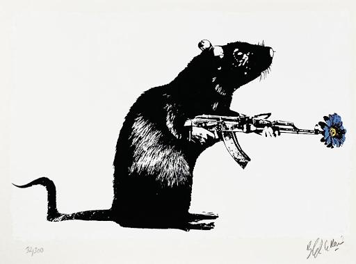 Blek le Rat, The Warrior, 2018. Image from Signari Gallery, LLC.