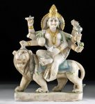 20th C. Indian Marble Carving of Durga & Lion Mount