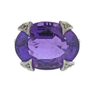 Cathy Waterman Platinum Amethyst Diamond Ring