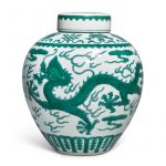 A FINE GREEN-ENAMELED DRAGON JAR AND COVER, JIAQING SEAL MARK AND PERIOD