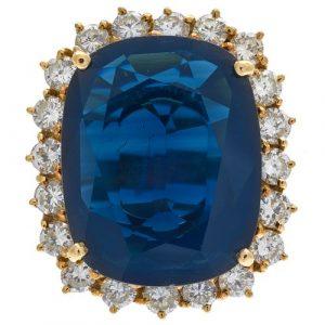 Sapphire, Diamond, 18k Yellow Gold Ring