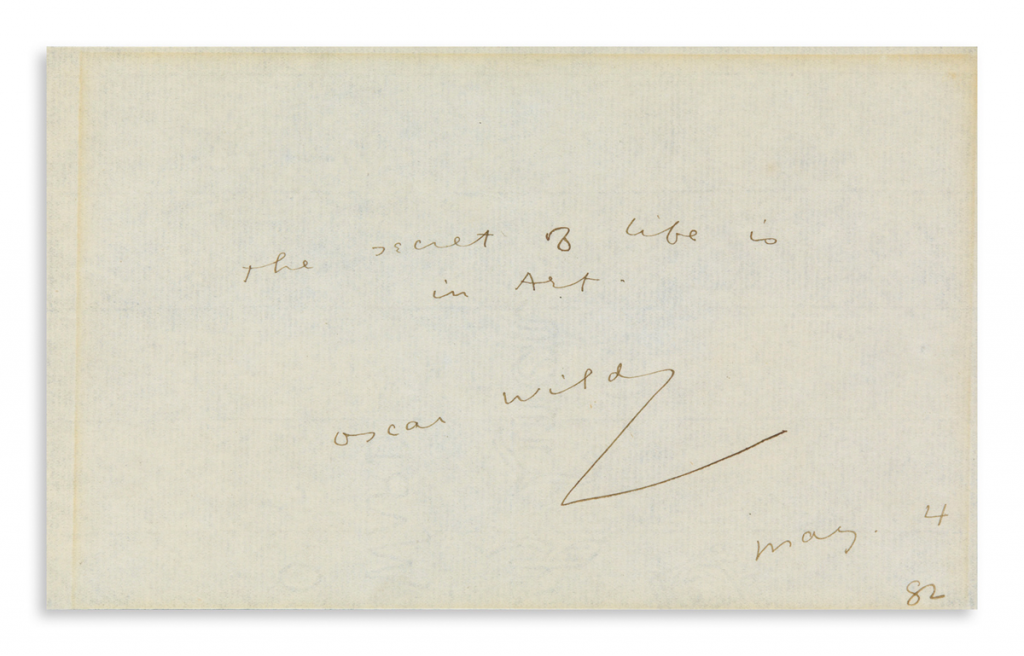 Oscar Wilde autographed quotation, 1882. Image from Swann Galleries.
