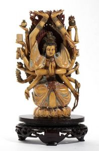 A Chinese ivory carving of Bodhisattva - Qing dynasty, 19th Century