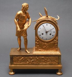 French Gilt Bronze Figural Mantel Clock, 19th C.