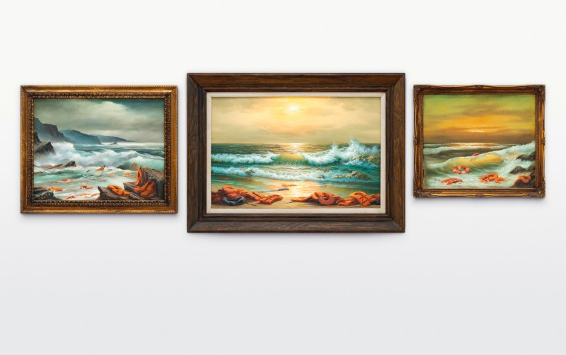 Banksy, Mediterranean Sea View 2017, 2017. Image from Sotheby's.