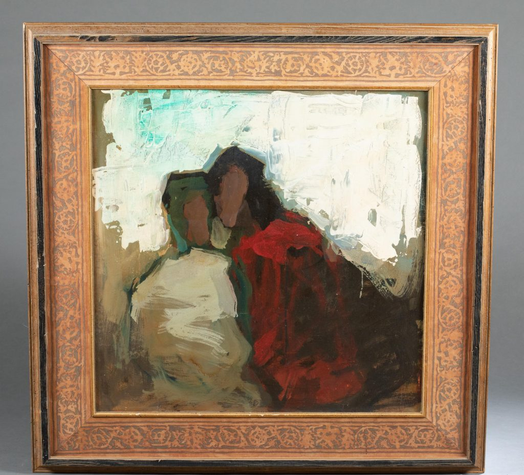 Si Chen Yuan (Chinese/ American, 1911-1974), untitled mid-20th-century oil-on-canvas depicting abstracted couple, 30 inches square (sight). Signed LR. Estimate: $3,000-$5,000