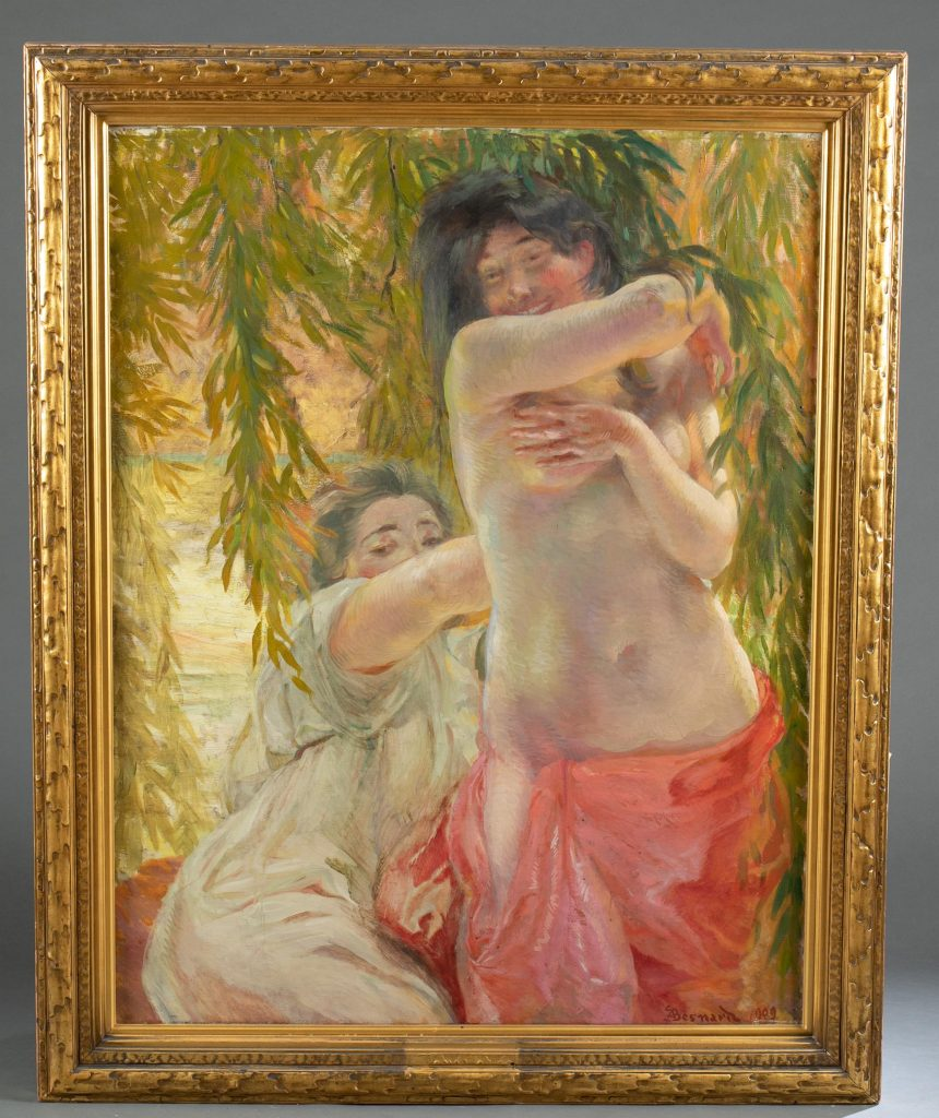 """Paul Albert Besnard (French, 1849-1934), """"Sous Les Saules (Under the Willows),"""" 1909, oil-on-canvas, 47 x 36in (sight). Gallery label on verso. Provenance: Exhibited in 1922 at Museum of Art at the Carnegie Institute, Pittsburgh; previous sale May 15, 1980 at Christie's NYC. Estimate: $5,000-$7,000"""